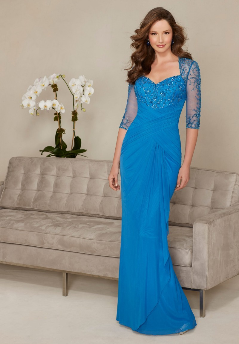 blue Mother of The Bride Dress 2017 Beading Evening Gown Chiffon ...