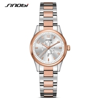 SINOBI Fashioh Women Wrist Watches Golden Watchband Top Brand Luxury Ladies Quartz Clock Female Bracelet Watch