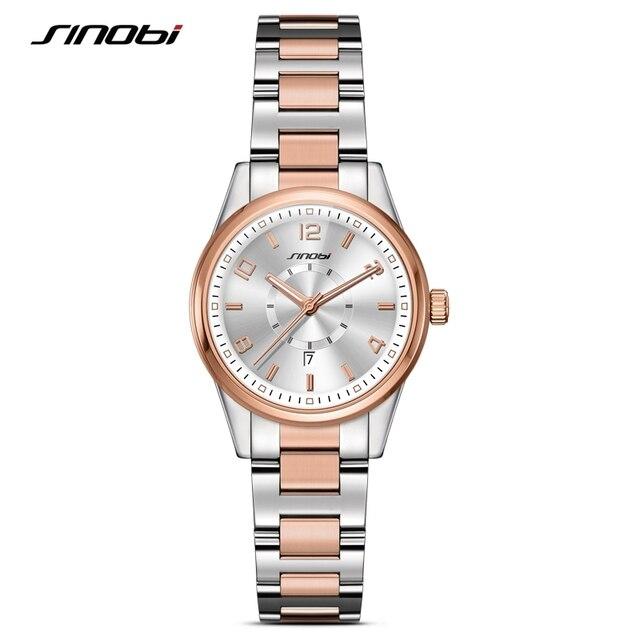SINOBI Fashion Women Wrist Watches Golden Watchband Top Brand Luxury Ladies Quartz Clock Female Bracelet watch Montres Femmes
