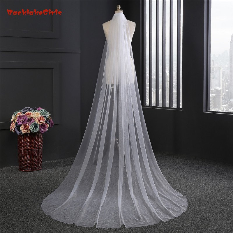 BacklakeGirls 2018 New Bridal Veils With Comb 2 Meter 1 Layers Elegant Soft Tulle White Ivory Wedding Accessories Wedding Veil