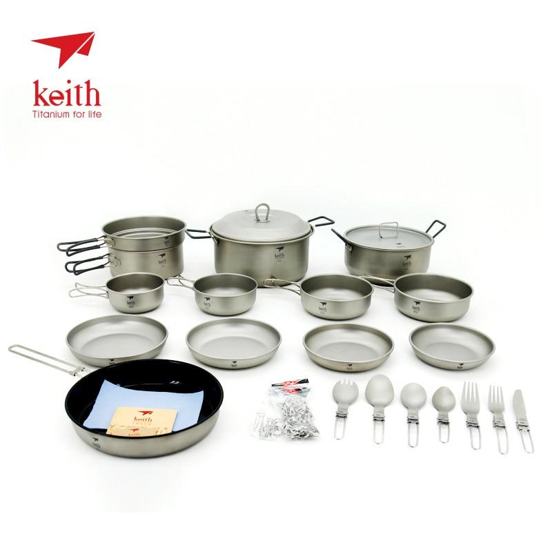 Keith 4-5 ustensiles de cuisine d'extérieur en titane Pot et casserole bol plaque de Camping couverts Ti6201