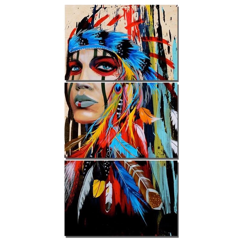 "Full round Diamond 5D DIY Diamond Painting ""3pcs Indians feathered"" Embroidery Cross Stitch Rhinestone Mosaic Painting stickers"