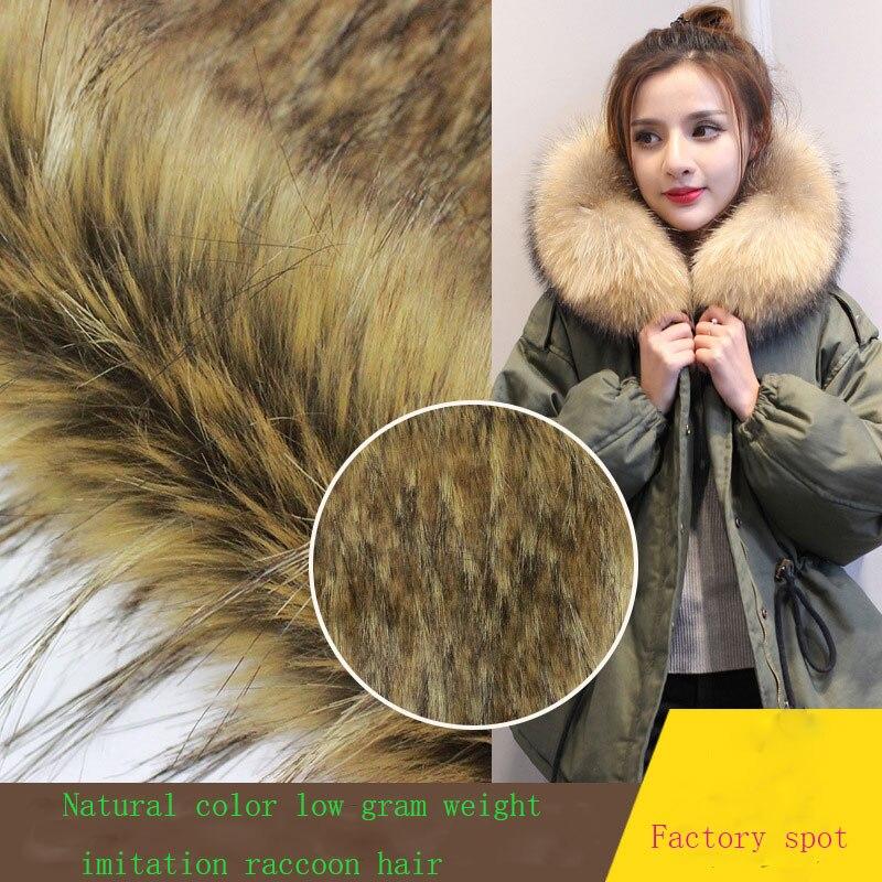 Couleur naturelle imitation tresse cheveux mode vêtements col de fourrure artificielle fourrure herbe cap laine tissu