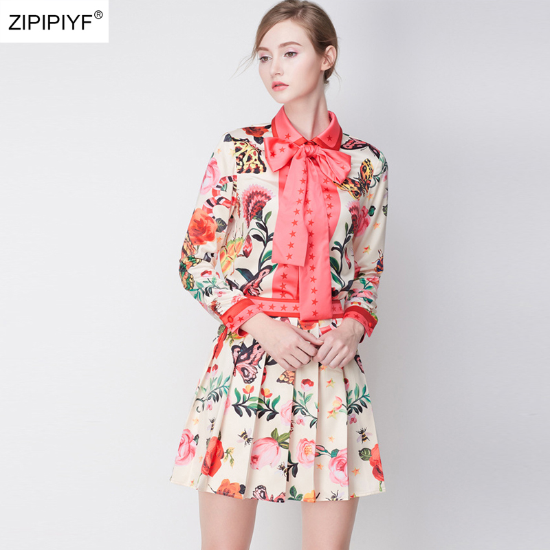 2018 New Summer Floral Print Bow design Turn-down Collar Blouses Shirts Tops& Above Knee Skirts Suits Womens Clothing Set W1065