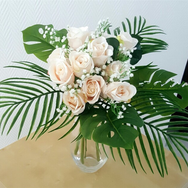 Artificial Leaves Simulation Foliage Plants Fake Palm Tree Leaf Green/Light green Greenery for Floral Arrangement Accessory