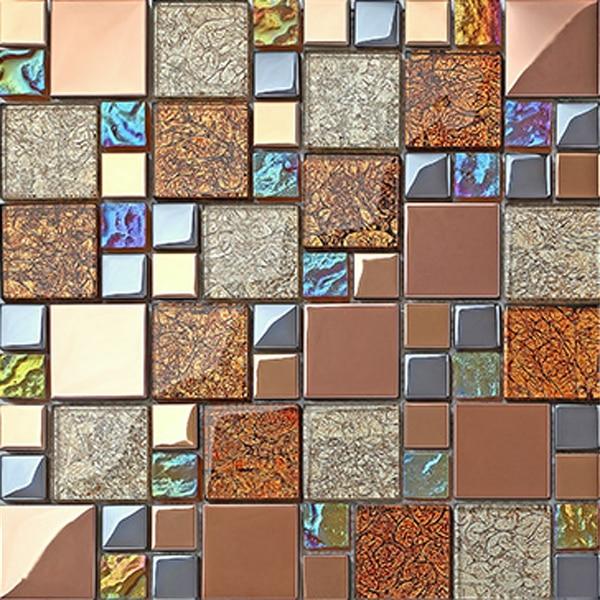 brown glass mosaic wall art murals kitchen back splash bathroom tile ...