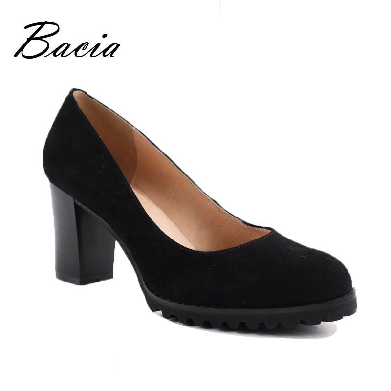 Bacia Genuine Leather shoes Sheepskin Women Round Head Pump Sapato feminino High Heels Soft Leather Schoenen Shoes 2016 VA008 sapato feminino dames schoenen the new 2017 national wind woman of genuine shoes lvkong high restoring ancient ways with 5690