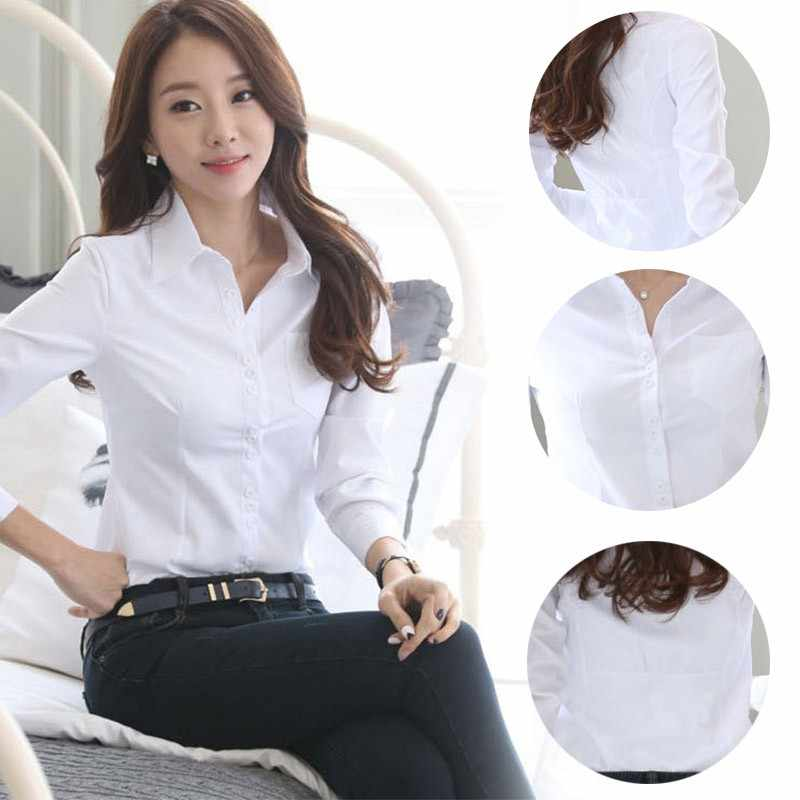 2ef21a02e3821 Summer Blusas Women Office Blouse Lady Formal Party Long Sleeve Slim Collar Blouse  Casual Solid White