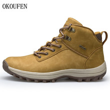 OKOUFEN Plus Size 39-46 Brand Hiking Shoes Men Spring Hiking Boots Mountain Climbing Shoes Outdoor Sport Shoes Trekking Sneakers