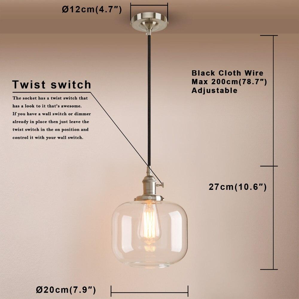 Permo Vintage Pendant Ceiling Lamps Modern Jar Glass Pendant Lights Kitchen Dining Hanglamp Retro Luminaire Loft Lights Fixture