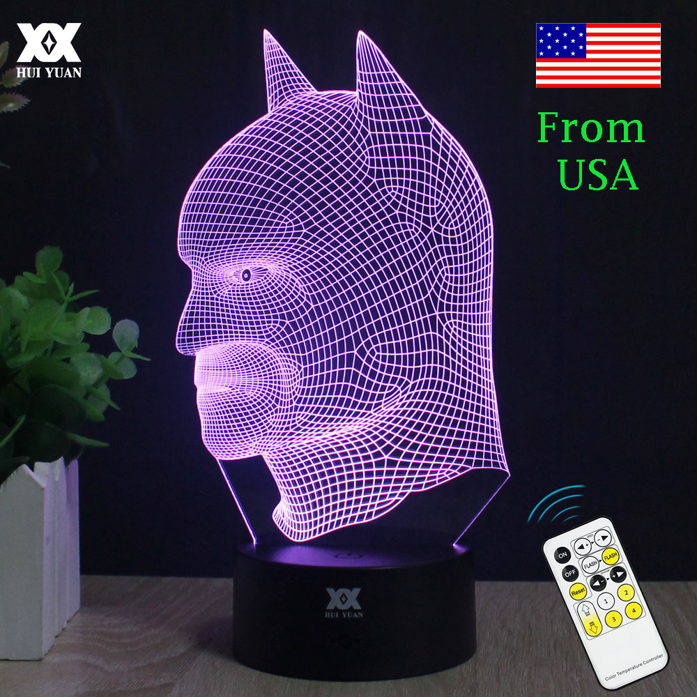 Batman 3D Lamp LED Remote Control Night Light USB 7 Colors Changing Decorative Table Lamp Interesting Gift HUI YUAN Brand keyshare dual bulb night vision led light kit for remote control drones