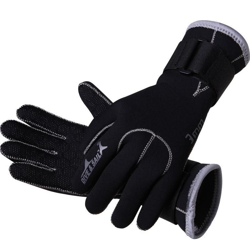 Νέο 3 χιλιοστά πλήρη δάκτυλο νεοπρένιο γάντια κατάδυσης Κολύμβηση Κρατήστε ζεστό κολύμβησης εξοπλισμού κατάδυσης γάντια