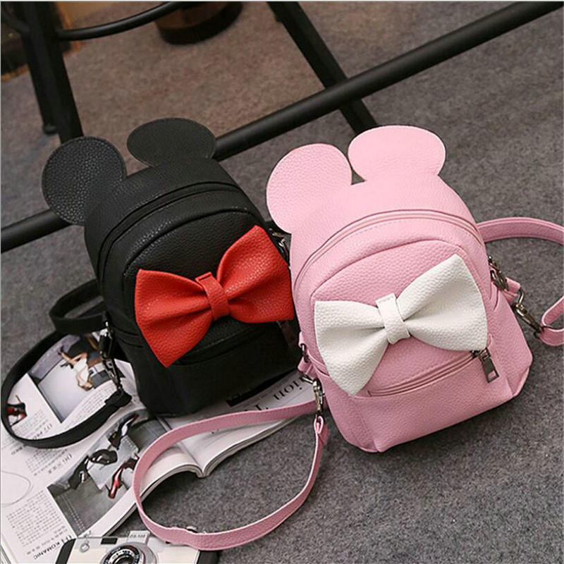 Fashion Girls PU leather Mickey Backpack Womens bag Teen Loveing Girls Backpacks Cute Animals ears Bow Wild School Female Bag