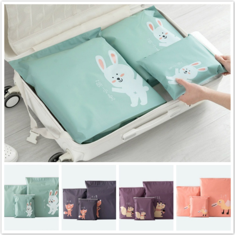 Newcomdigi 3Pcs/Set Travel Zipper Bag Set Storage Organizer for Cloth Socks Travel Accessory Party Favor Gift Bags