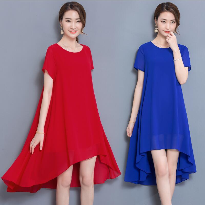 2019 Women Elegant Solid Dresses Sexy Casual Dress Short Sleeve Chiffon Summer Casual Dress Plus Size L-4XL 5XL Loose Dress Red