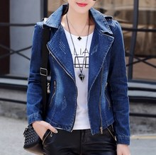 2019 Womens Vintage Short Jeans Jackets For Women Blue Denim Blazer Slim Suit Jacket Zipper Decoration Casual Streetwear Coat