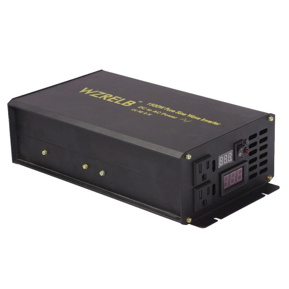 DC to AC Power Inverter 12V 220V 1500W Pure Sine Wave Inverter Solar System Generator Converter 12V/24V/48V to 110/120/220/230V