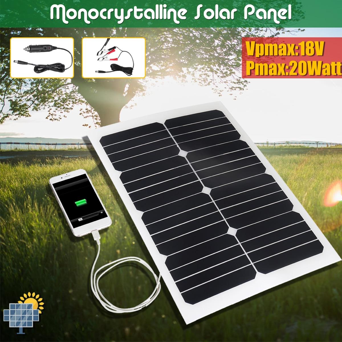 CLAITE 20W 18V Solar Panel Plate Flexible Solar Charger For Car Battery 12V Sunpower Monocrystalline Silicon Cells Module Kit flexible solar panel plate 12v 5v 10w 20w 30w solar charger for car battery 12v 5v phone battery sunpower monocrystalline cells