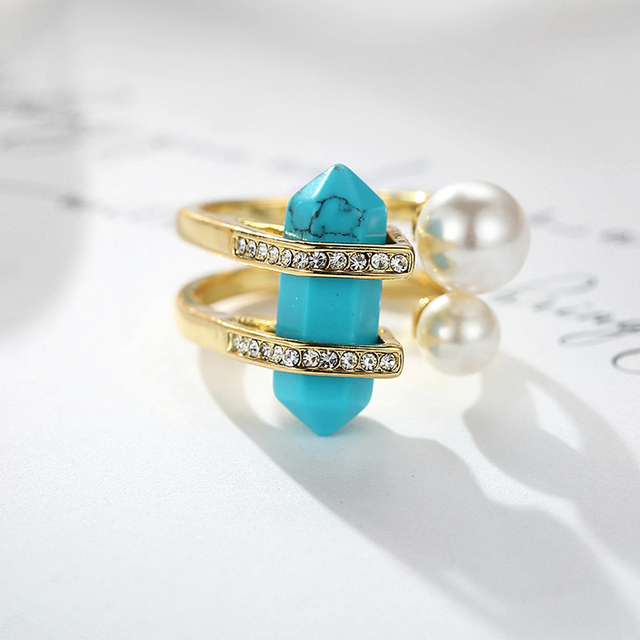 Viennois New Fashion Jewelry Bohemia Gold Plated Rings For Women Vintage Double Simulated Pearls & Turquoise Female Finger Ring