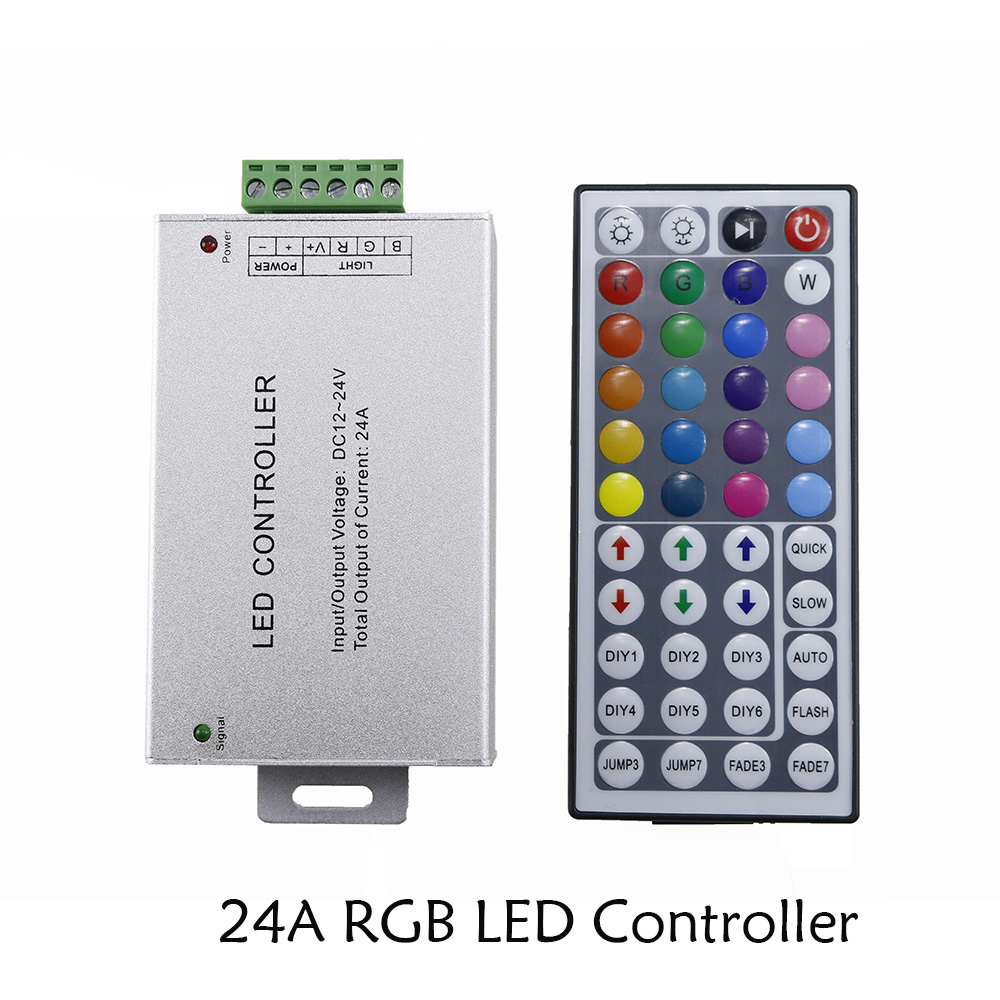 RGB led controller 24A 44 keys IR wireless remote control Plastic+Aluminum dc 12V-24V for 5050 / 3528 RGB led strip light ...