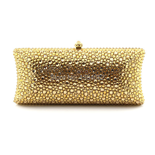 Luxury Indian Bridal Handmade Gold Crystal Small Clutch Purse