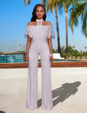 Dropwow Black White Long Jumpsuit Overalls 2018 Sexy Jumpsuit Lace