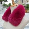 2016 Genuine Fox Fur Collar Real Fur Scarf Winter Warm Fur Neck Warmer Women's Clothing Fur Collar Accessories Fashion 22 Colors