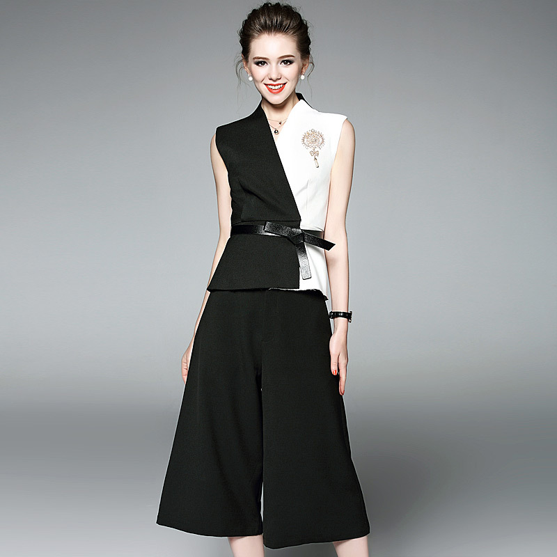 2017 Runway Office Two Piece Set Women's Ruffles Casual Blouses Top Wide Leg Pants Office Crop Top and Skirt Pants Set Outfits