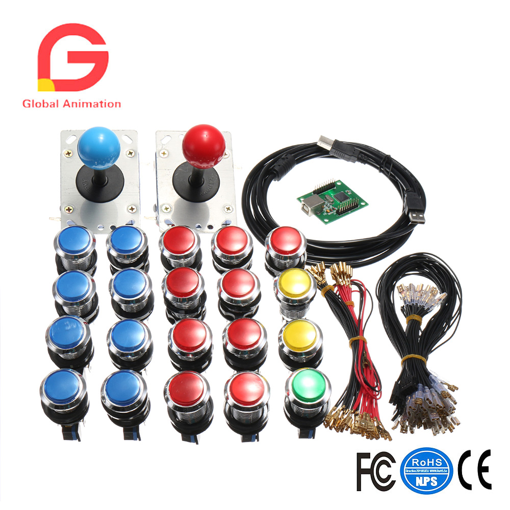 Arcade LED MAME 2 Player USB Bundle Kit 2 Joysticks 4 And 8 way 20 Push Buttons 2 player mame arcade usb kit pc ps3 2 in 1 usb encoder to joysticks 4 8 way