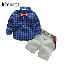 Kimocat Spring And Autumn Long Sleeve 2pcs Shirt+Pants Baby Boy Clothes Cotton Kids Toddler Children Clothing Set