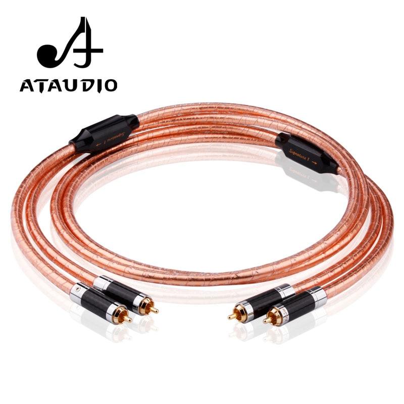 Câble ATAUDIO Hifi RCA haute qualité cuivre cuivré 2RCA mâle à mâle câble pour DVD et ampli