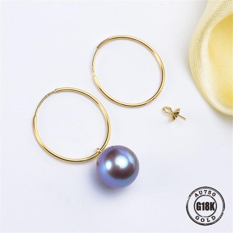 G18K Gouden Sieraden, AU750, Oorbellen Parel Accessoires, Oorhaak, Voor Vrouwen, Sieraden Bevindingen, DIY