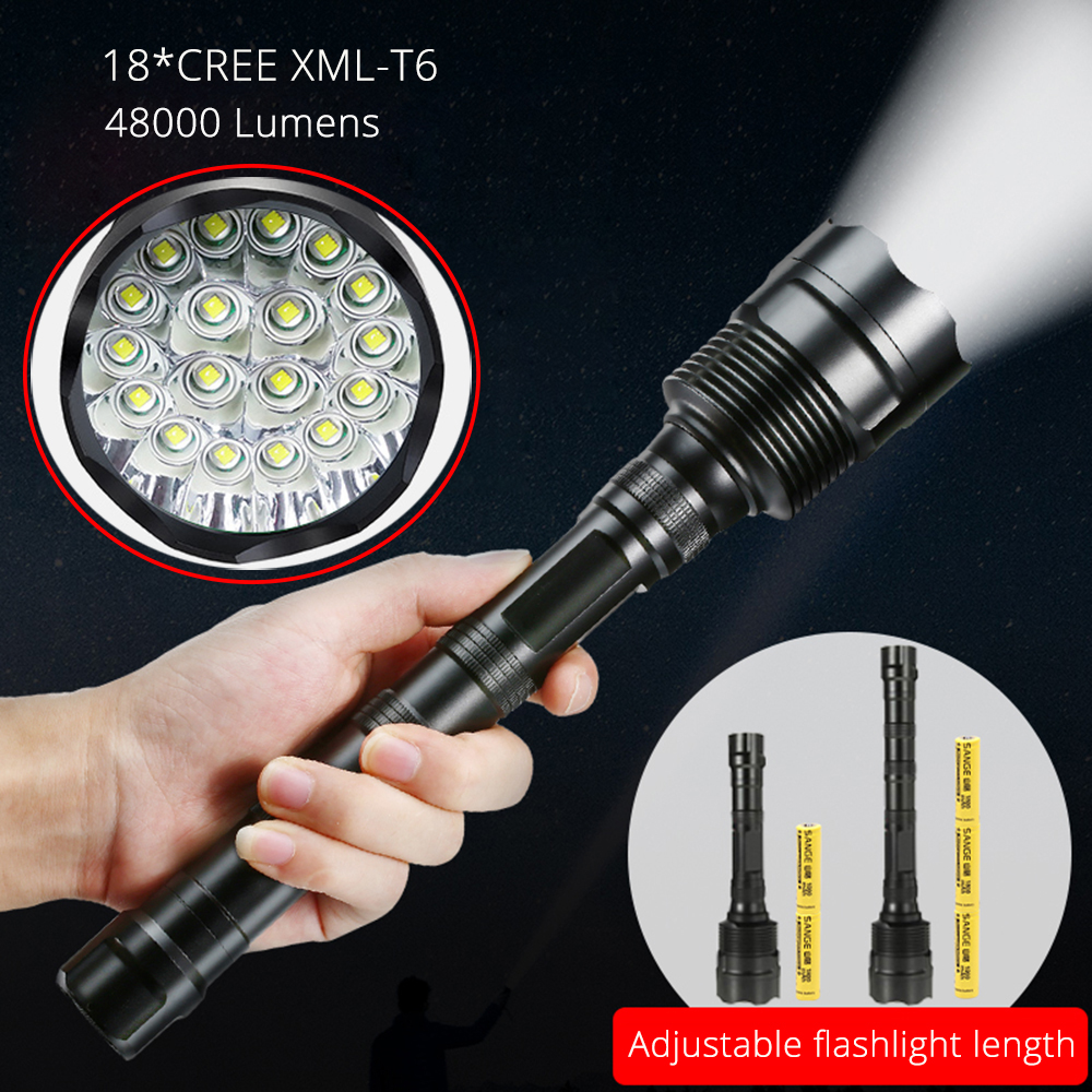 48000 Lumens CREE XML 18*T6 Tactical Powerful LED Flashlight Lighting Torch Lantern Flash Light Lamp+3*18650 Battery + Charger cree q5 600 lumens 3 modes led flash light zoomable focus led hunting lantern tactical flashlight 18650 5000 mah battery charger