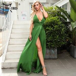 Missord 2020 женское сексуальное платье с глубоким v-образным вырезом и открытыми плечами однотонное платье женское платье с высоким разрезом бе...