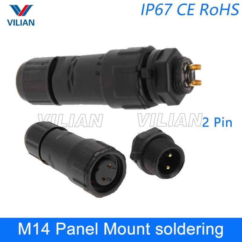 M14 waterproof Connector electric wire male female plug IP67 led outdoor display cable socket Panel Mount 1 unit
