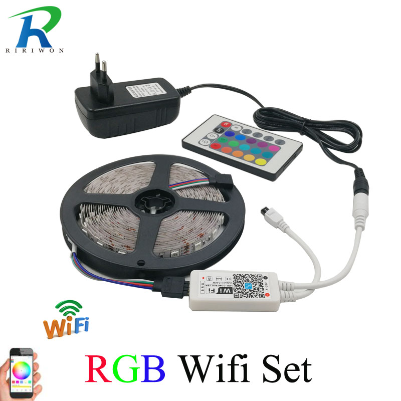 SMD5050 2835 RGB LED Strip Light 5m 10m Flexible Tape Diode Ribbon Waterproof WiFi Controller AC 110V 220V DC 12V Power Set 12 v rgb led strip light 5050 2835 5m 10m no waterproof tape diode ribbon ledstrip lamp controller ac 220v dc 12v adapter set