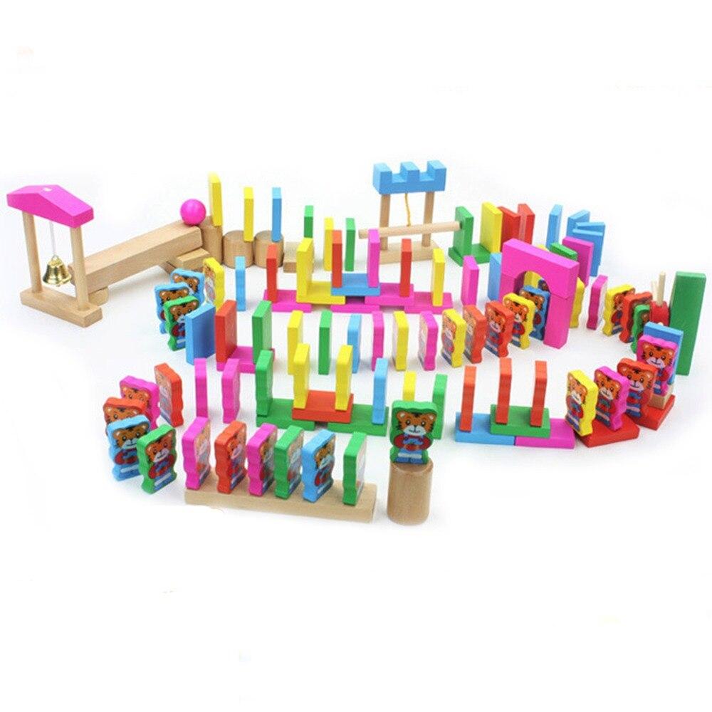 ФОТО 120pcs DIY Cartoon Domino Blocks Family Children Games Educational Toy Wooden Building Blocks