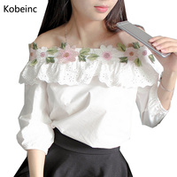 Lovely Splice Lace Blusas Slash Collar Three Quarter Sleeve Women Shirt Girlish Floral Embroidered Blouse Fashion