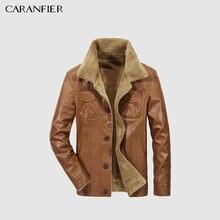 083e850709d CARANFEIR мужские кожаные куртки мужские Куртки из искусственной кожи  деловые повседневные плюс толстые теплые широкие пальто