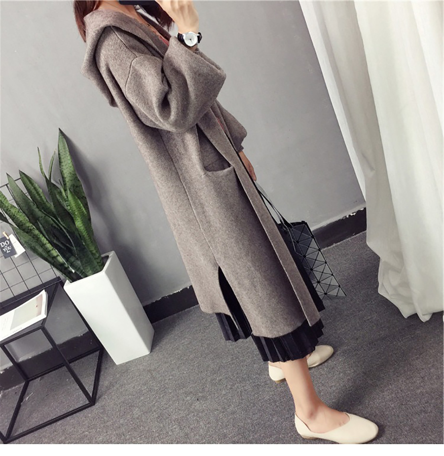 Autumn Winter Women Long Cardigans Hooded Sweaters Casual Knitted Outwear Puff Sleeves for Fashion Girls Female Warm Clothing (3)