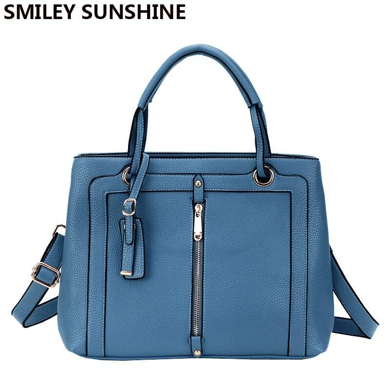 SMILEY SUNSHINE Brand New Luxury Handbags Women Bags Designer High Quality PU Leather Handbag Female Shoulder Bag Hand Tote sac