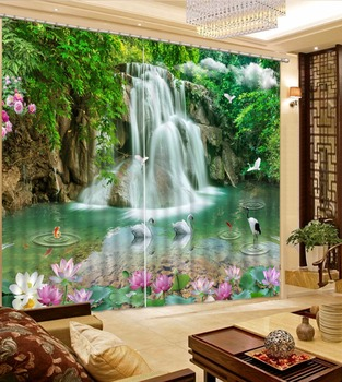 3D Curtain Photo Customize Size Green Scenery Waterfall Swan Lotus Window Curtain Living Room Bathroom Curtain