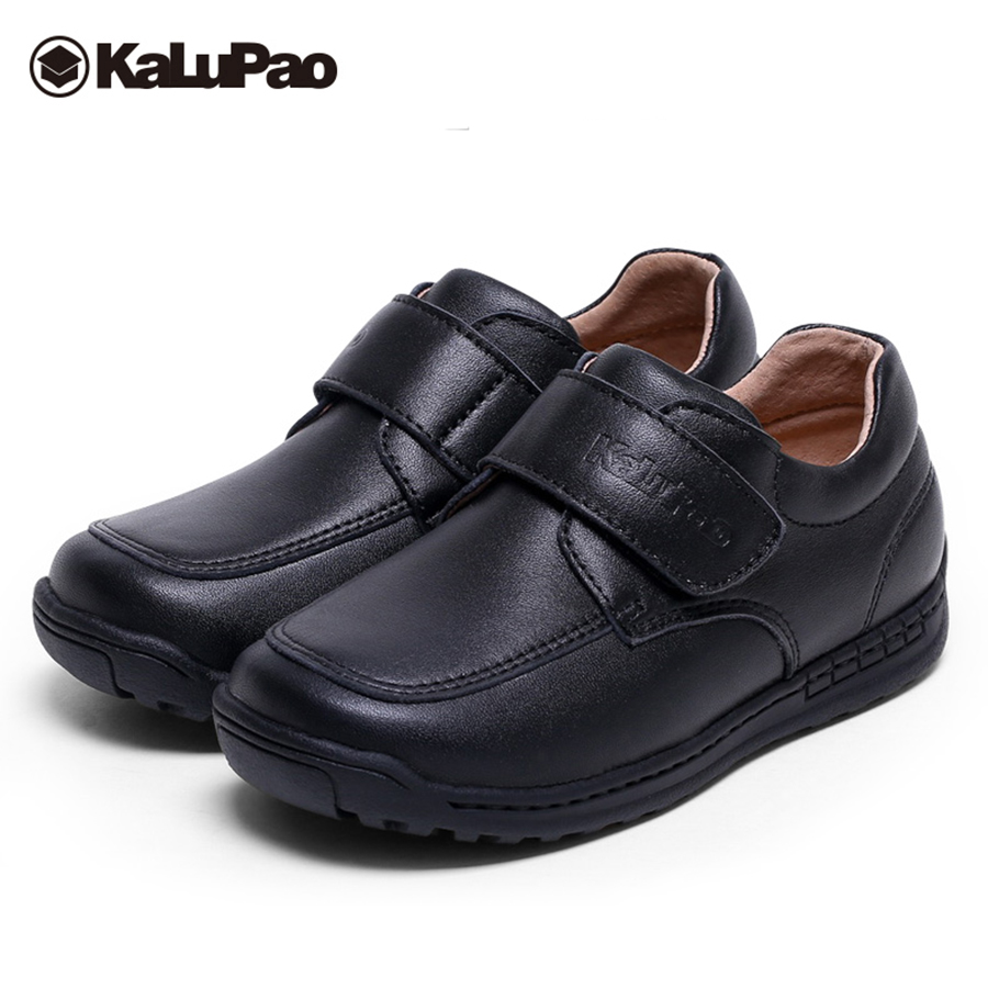 Kalupao Boys leather shoes cow muscle outsole breathable anti slip autumn spring kids boys genuine leather school party shoes kids shoes 2018 genuine leather spring and autumn zipper rubber kids boys shoes heelys zebra pure color soft 1 6 year girl shoes