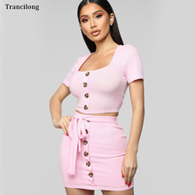 Trancilong Pink, Blue Short-Sleeved Solid Color Skirt Two Piece Set WomenS Stitching Sexy Backless Hollow Strap Suit
