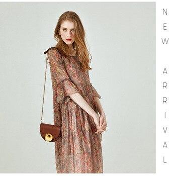 Vestido de seda con encaje de hilo 2019 un nuevo-en forma de vestido con cuello redondo y mediados de-longitud dos -traje de pieza en la cintura