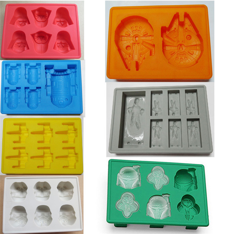 7 Options Star Wars Ice Cube Tray R2D2 X-Wing etc Silicone Mold Chocolate Fondant Mould DIY Drink Cocktail Whisky FDA 1485