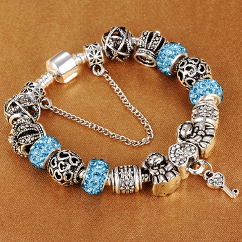 HOMOD Authentic Silver Plated 925 Crown Beads Key Crystal Heart Charm Bracelet Fits Brand Bracelet For Women DIY Jewelry