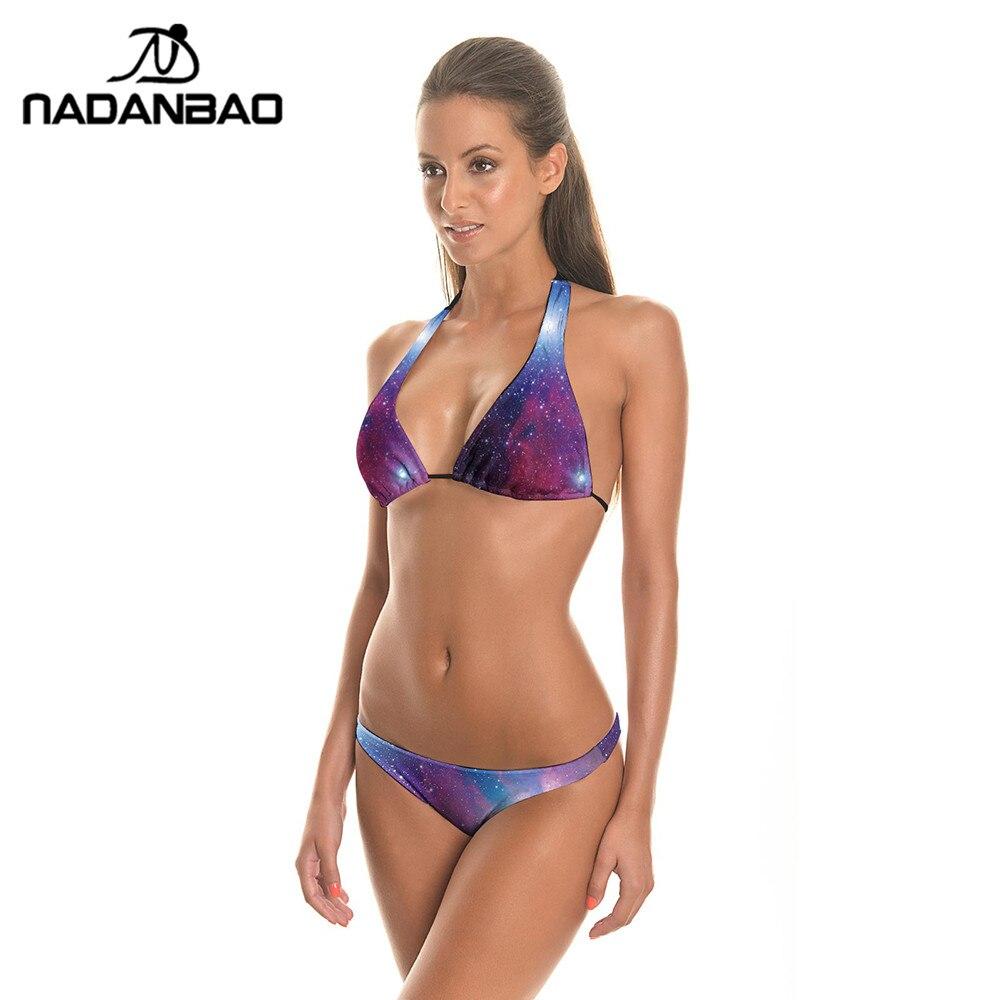 New Arrival Summer Swimsuit Women Bikini 2017 Maillot De Bain Femme Purple Starry Sky Galaxy Swimwear Woman Biquini B402-015  hw2016 new arrival new 3d printing purple starry sky elastic breathable vest leggings yoga set