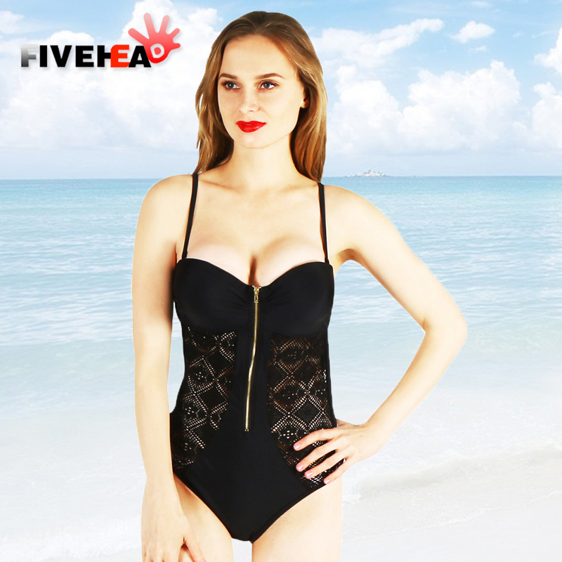 one-piece women swimwear sexy Front zipper printed solid color flower sling large size bathing swimsuit push up female women one piece triangle swimsuit cover up sexy v neck strappy swimwear dot dress pleated skirt large size bathing suit 2017
