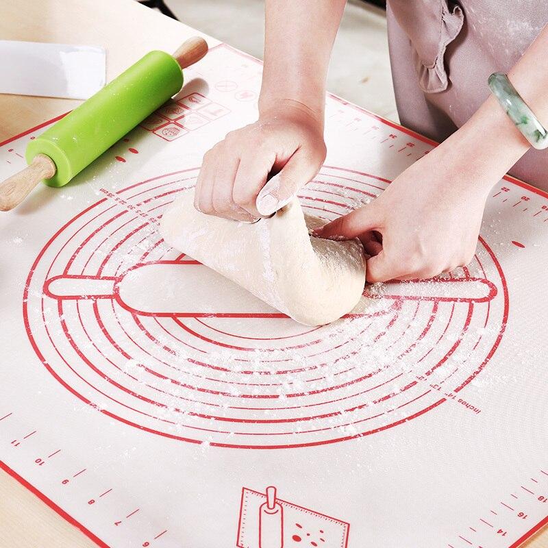 Anti-Aderente de Silicone Almofada da Esteira de Cozimento de Farinha de Rolamento Escala Pastelaria Bakeware Bolo Pasta Folha Mesa De Cozinha Ferramentas Placemat Coaster mesa